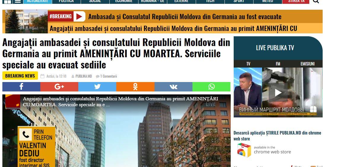 Reacția ambasadei Germaniei la știrile false de la trustul lui Plahotniuc
