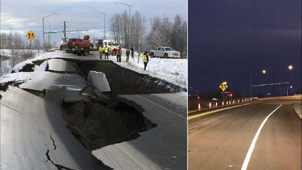 """(FOTO) """"Minunea"""" din Alaska: Cum a fost reparat un drum în 4 zile, la temperaturi negative"""