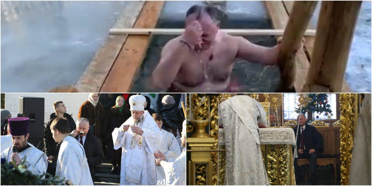 (FOTO, VIDEO) Dodon, de Bobotează: A discutat cu mitropolitul în altar și s-a scăldat în lac