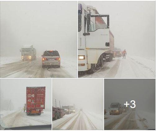 (FOTO) Traseul Chișinău – Leușeni, blocat din cauza ninsorii