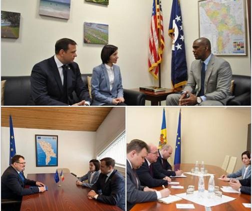 Maia Sandu și Andrei Năstase, la discuții cu ambasadorul SUA, al UE și al Federației Ruse